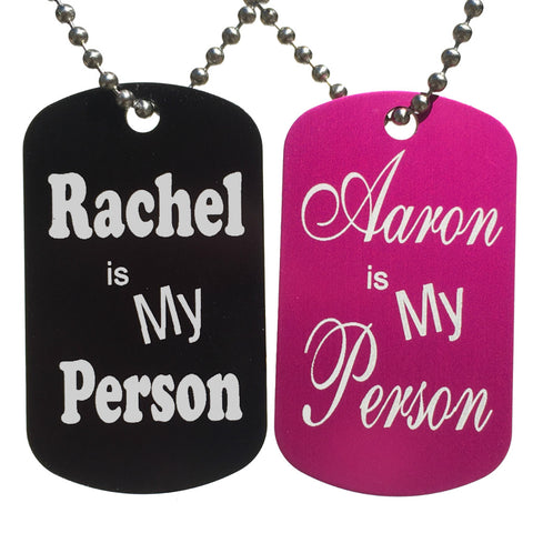 My Person Custom Names Dog Tag Necklaces (Pair) - Love Chirp Gifts