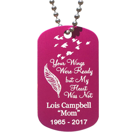 Your Wings Were Ready  Dog Tag Necklace
