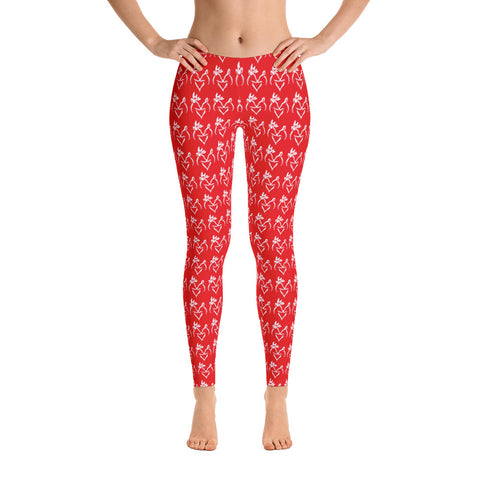RED with White Snuggling  Buck and Doe Pattern Leggings - Love Chirp Gifts
