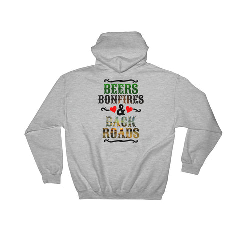Beers Bonfires & Back Roads Hoodie - Love Chirp Gifts