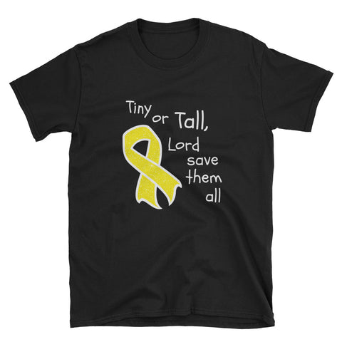 Tiny or Tall Childhood Cancer Awareness Unisex T-Shirt - Love Chirp Gifts
