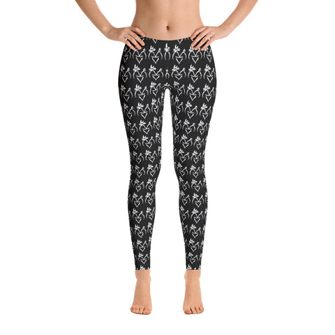 Black with Snuggling  Buck and Doe Pattern Leggings - Love Chirp Gifts