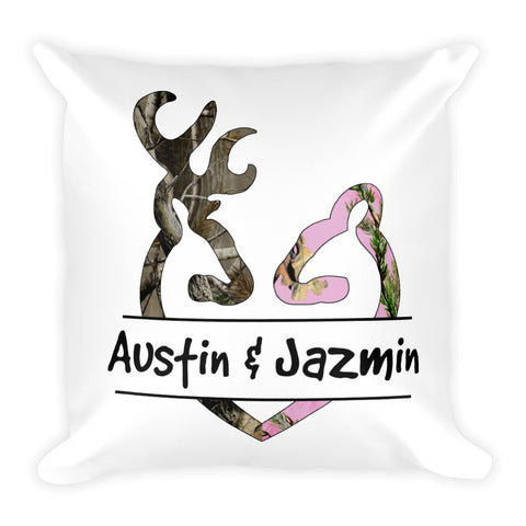 Buck and Doe Camo Personalized with Your Names Square Pillow - Love Chirp Gifts