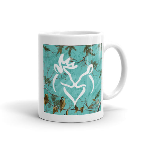 Snuggling Buck and Doe On Aqua Camo Mug - Love Chirp Gifts