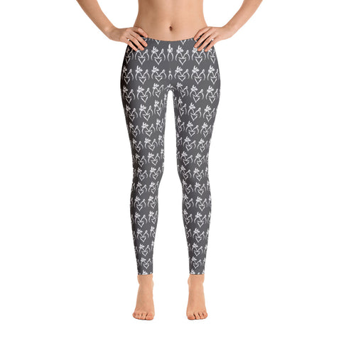 Charcoal Gray with White Snuggling  Buck and Doe Pattern Leggings - Love Chirp Gifts