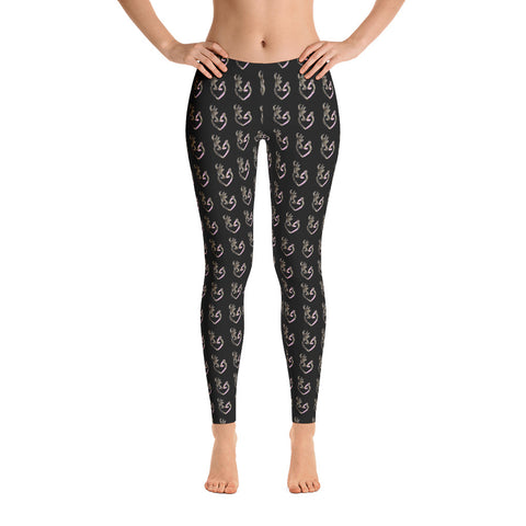 Black with Camo  Buck and Doe Heart Pattern Leggings - Love Chirp Gifts