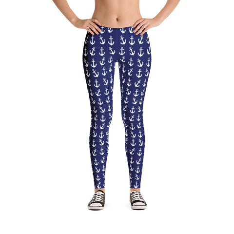 The Anchor Leggings on Navy - Love Chirp Gifts