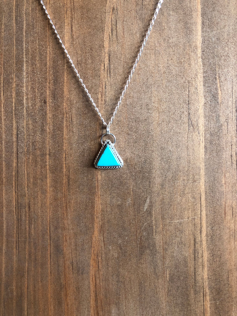 Genuine Kingman Turquoise Triangle Pendant Necklace