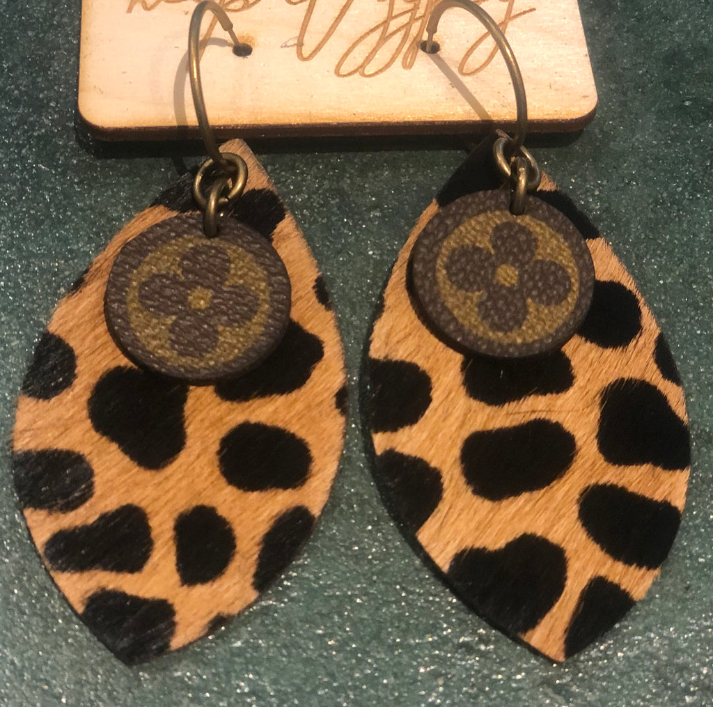 Upcycled Handmade Giraffe Print Earrings
