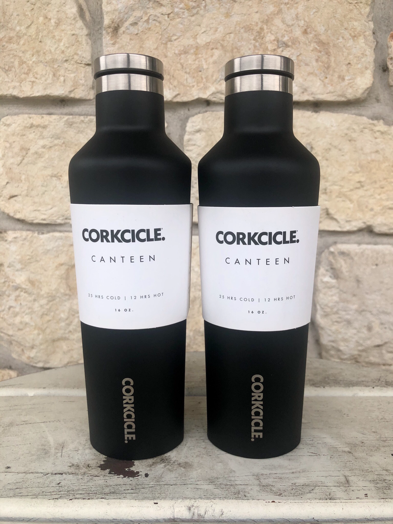 Corkcicle 16 oz. bottle in black and silver