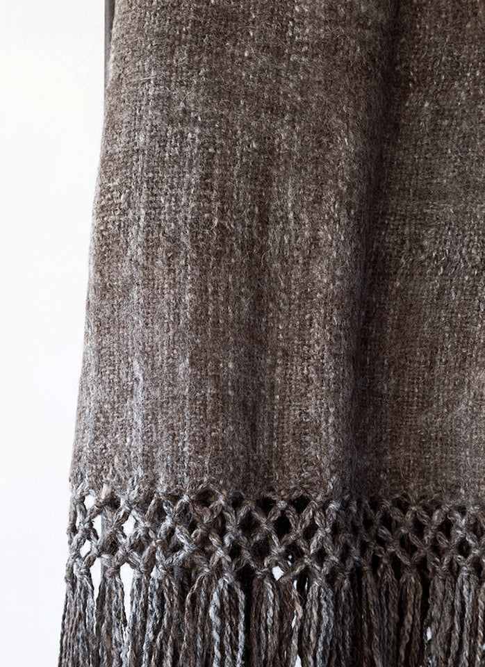 Handwoven llama wool throw charcoal