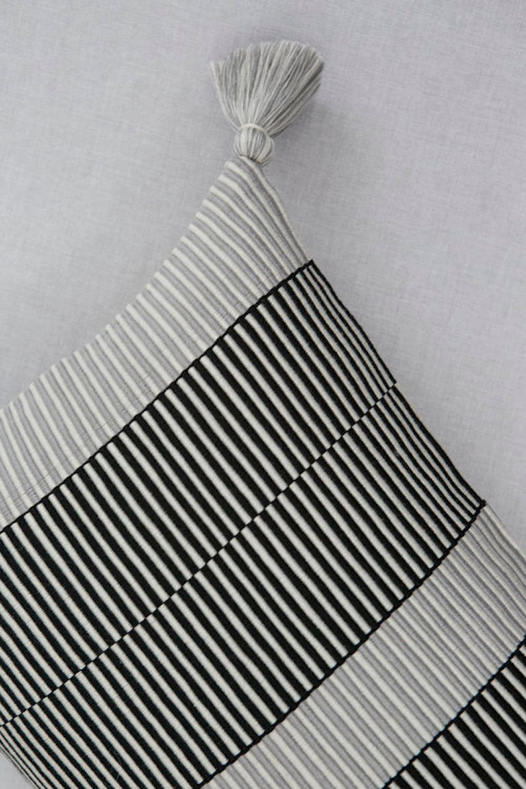 Handwoven cotton pillow black and white B&W with tassels