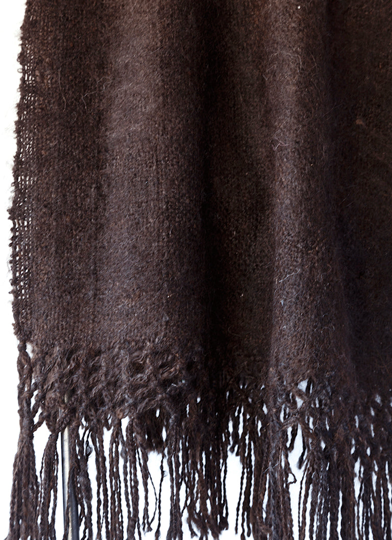 Handwoven llama wool throw black