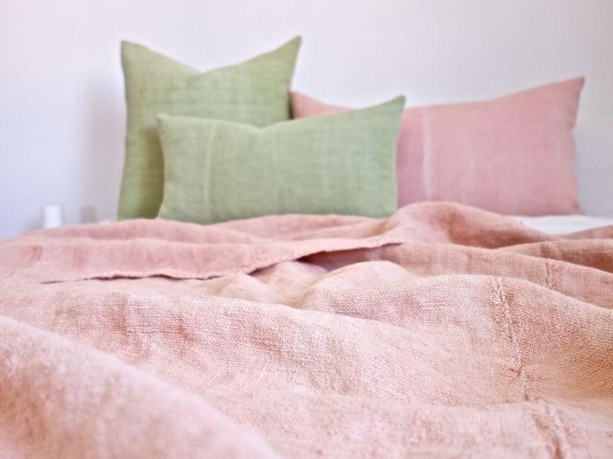 Hand-Painted Vintage Linen Throw - Pinks