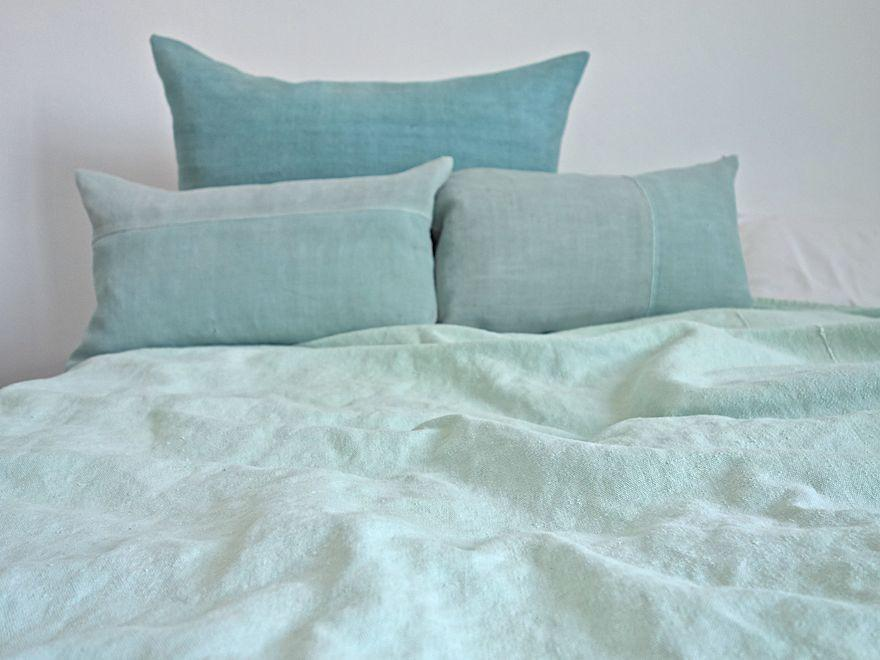 Hand-Painted Vintage Linen Throw - Aqua