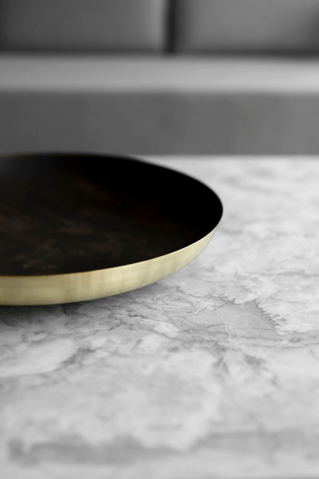 Hand-spun brass bowl tray centerpiece