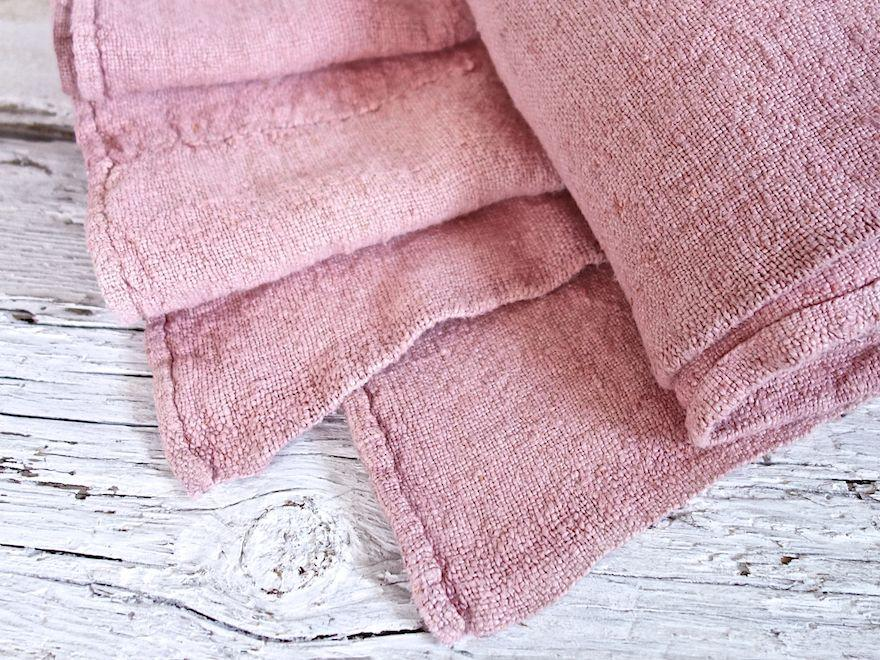Hand-painted vintage linen throw pink
