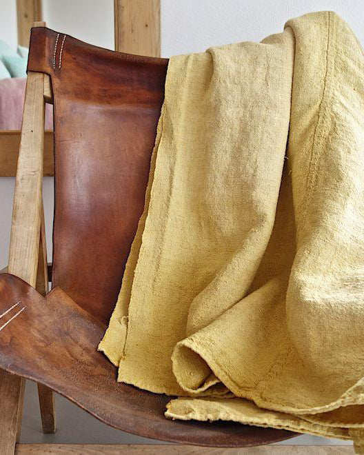 Hand-painted vintage linen throw yellow
