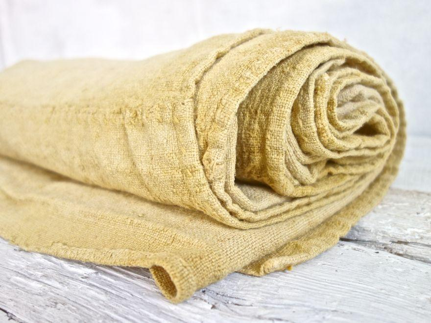 Hand-Painted Vintage Linen Throw - Yellows