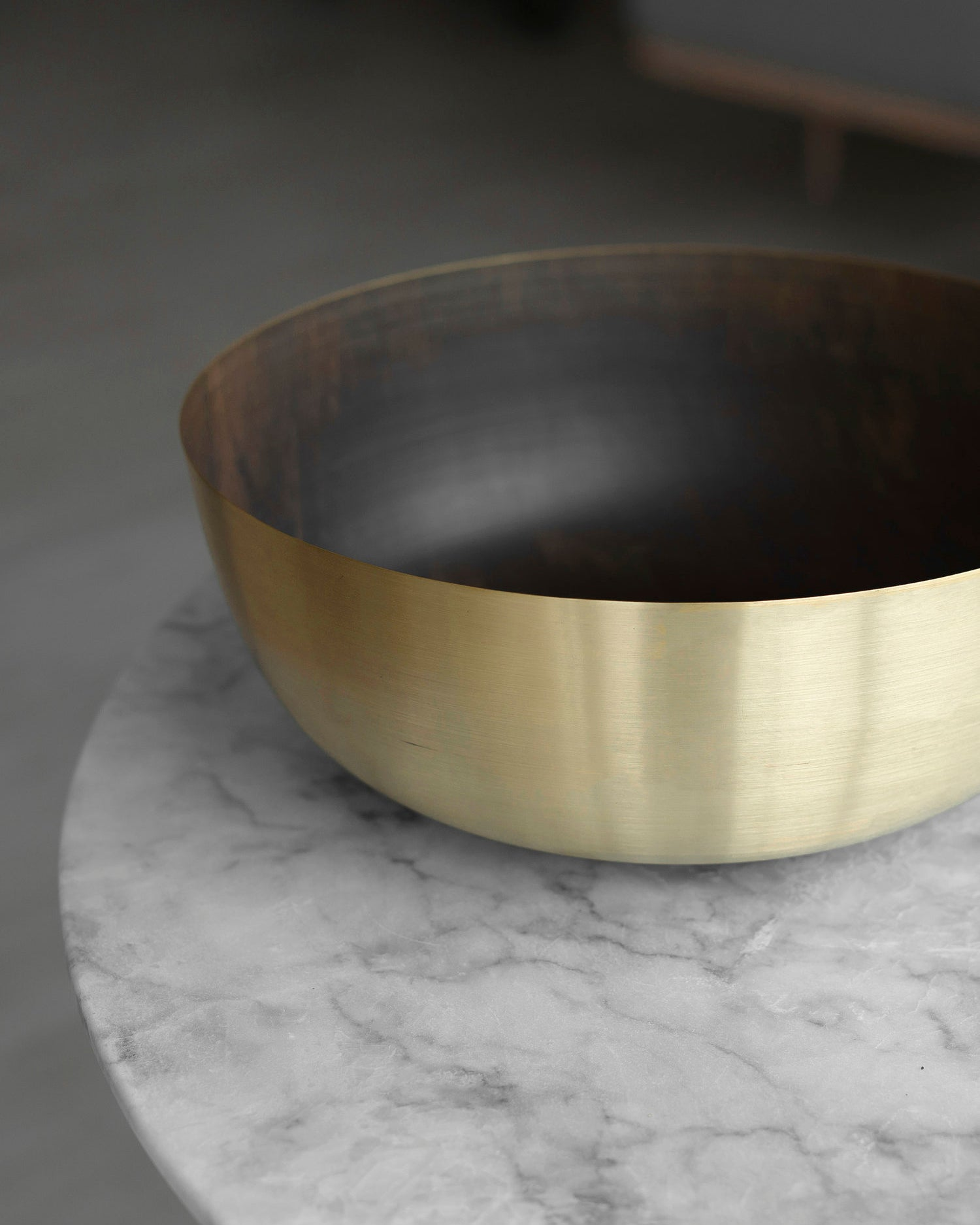 Hand-spun brass bowl centerpiece