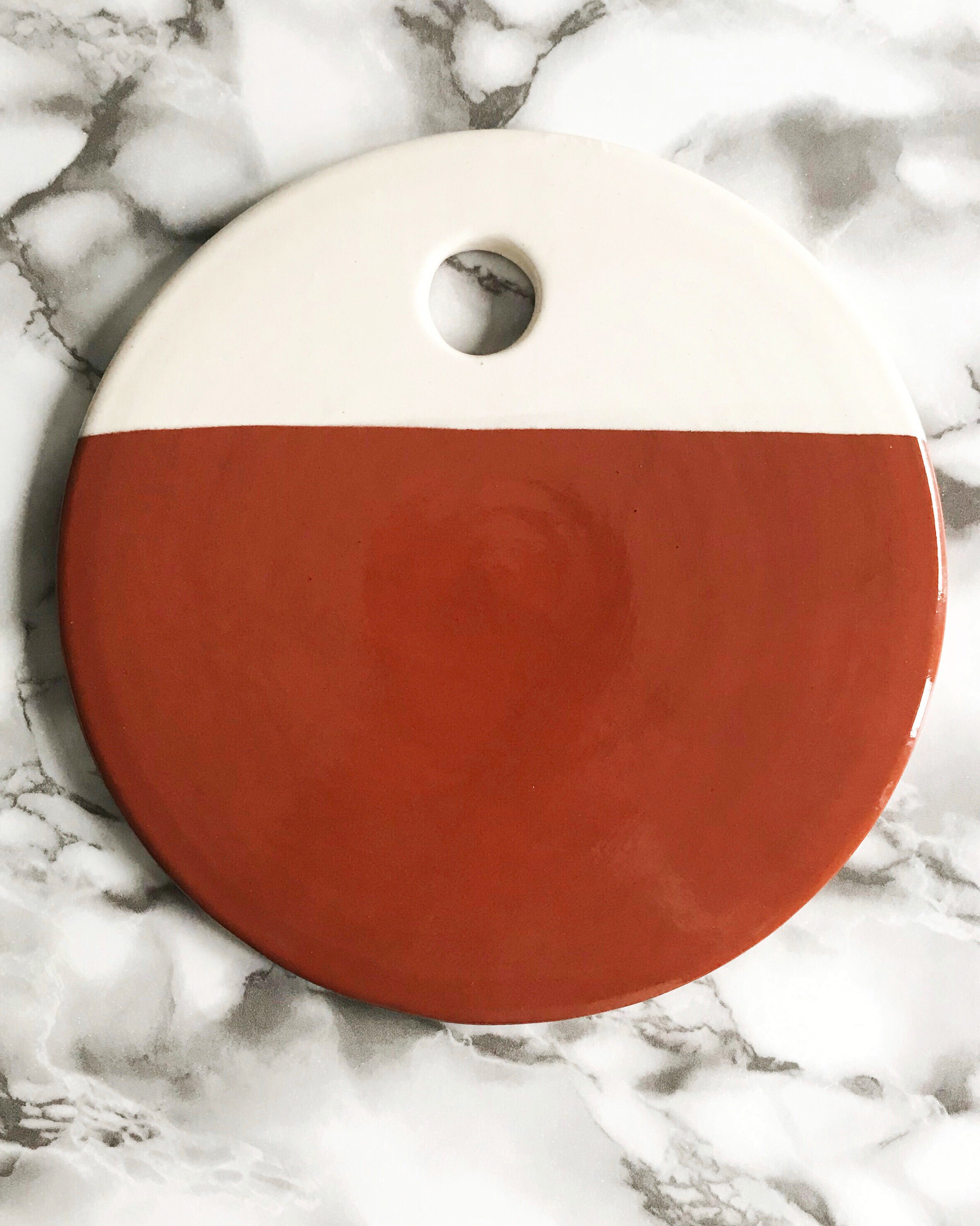 Casa Cubista Dipped Terracota & White Circular Cheese Board