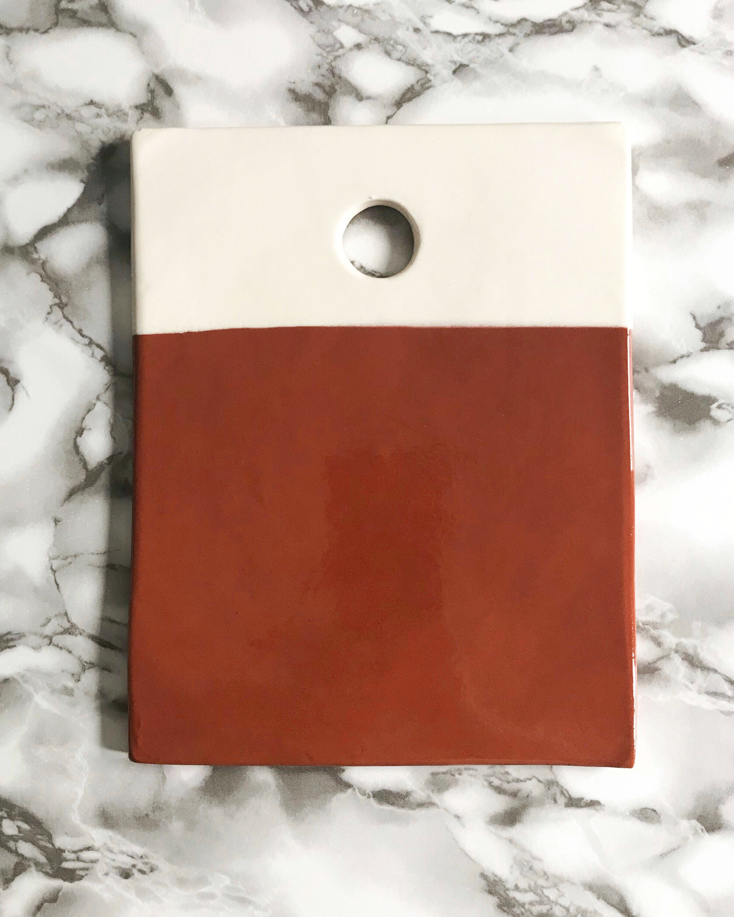 Casa Cubista Dipped Terracota & White Rectangle Cheese Board