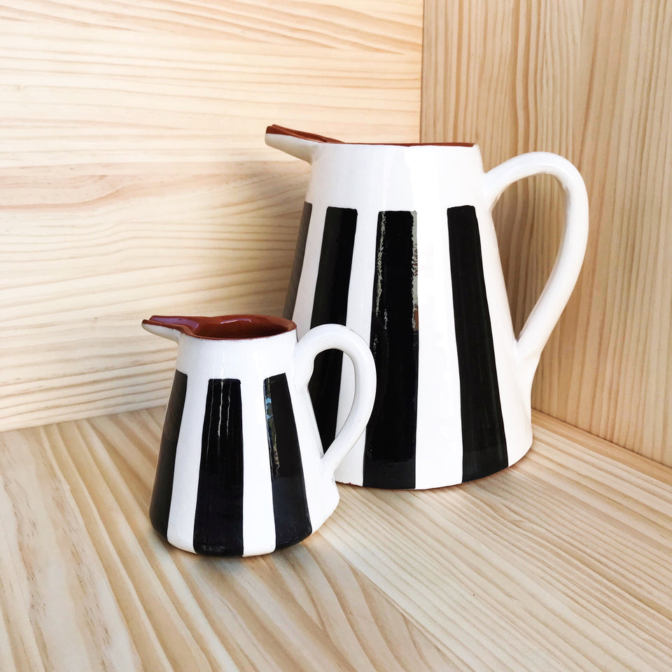 Handmade ceramic pitchers geometric pattern black and white B&W