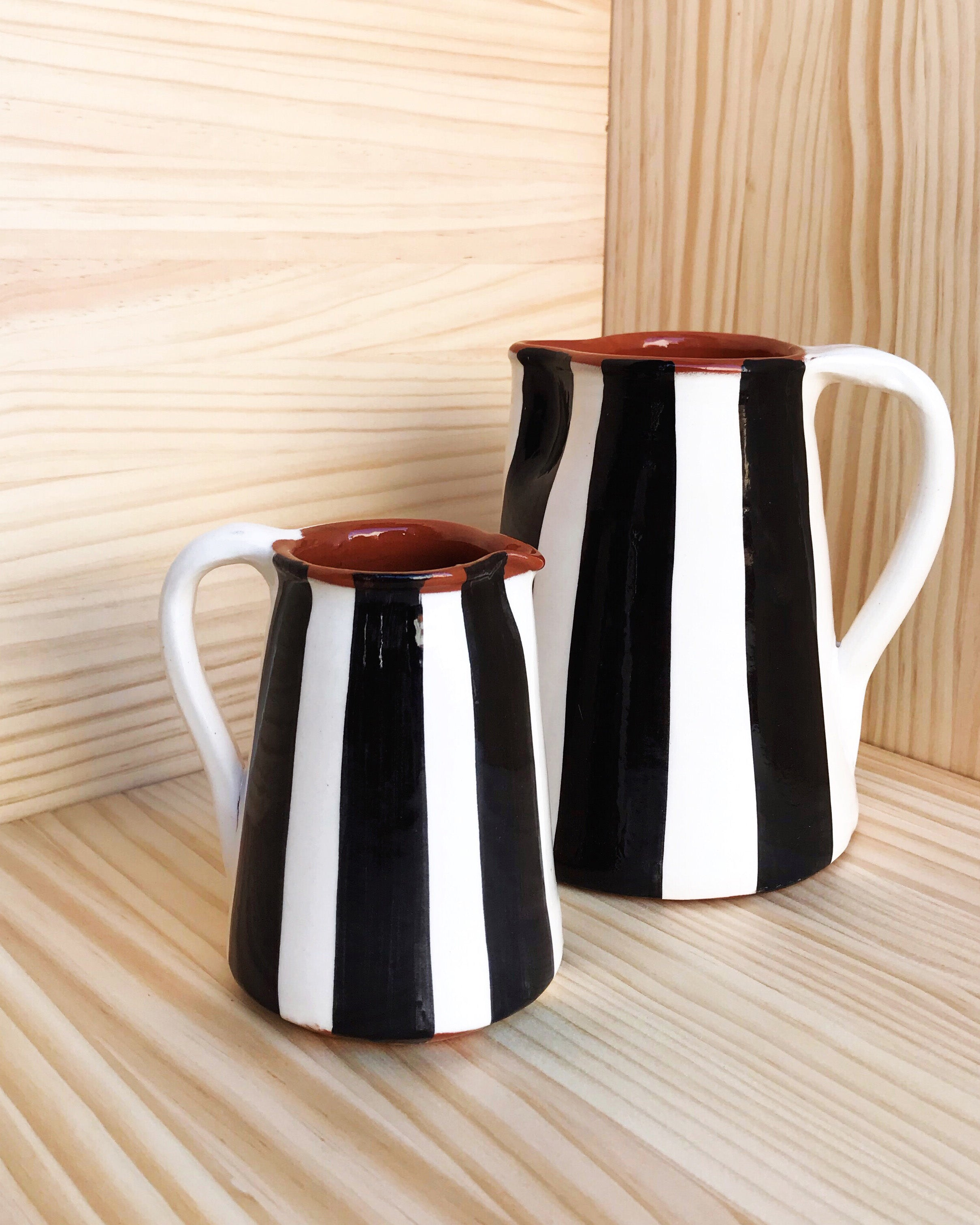 Handmade ceramic jugs geometric pattern black and white B&W