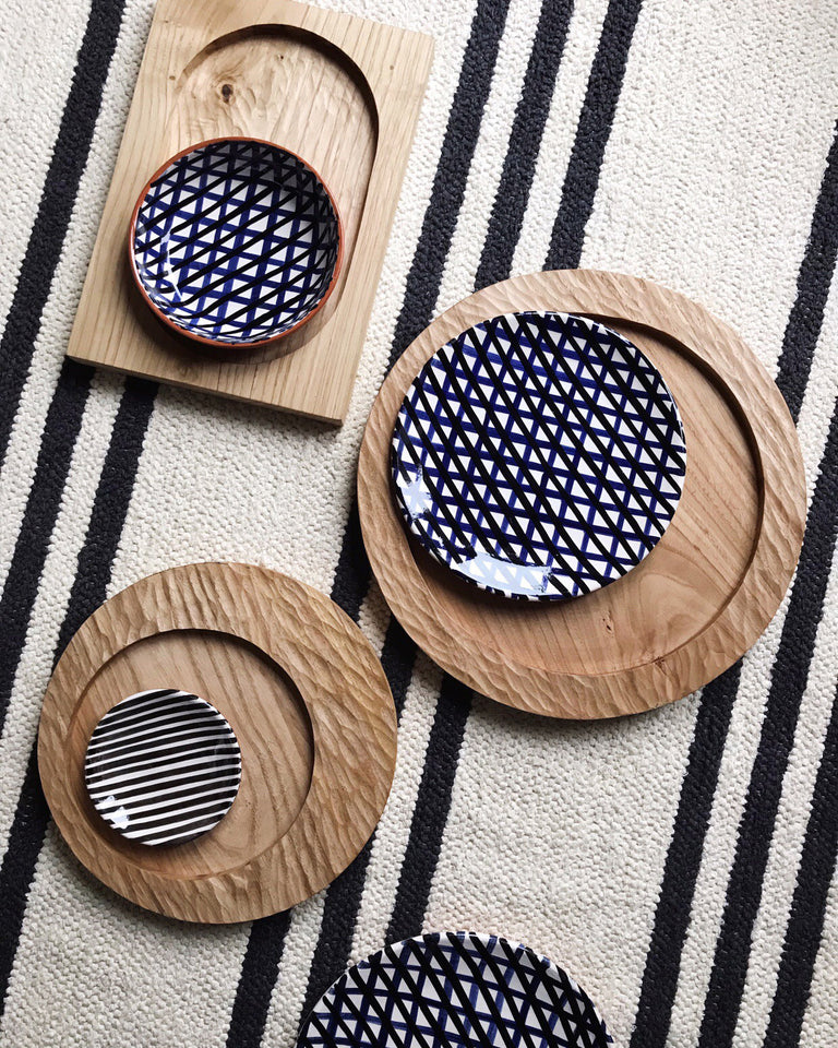Carved wood trays natural
