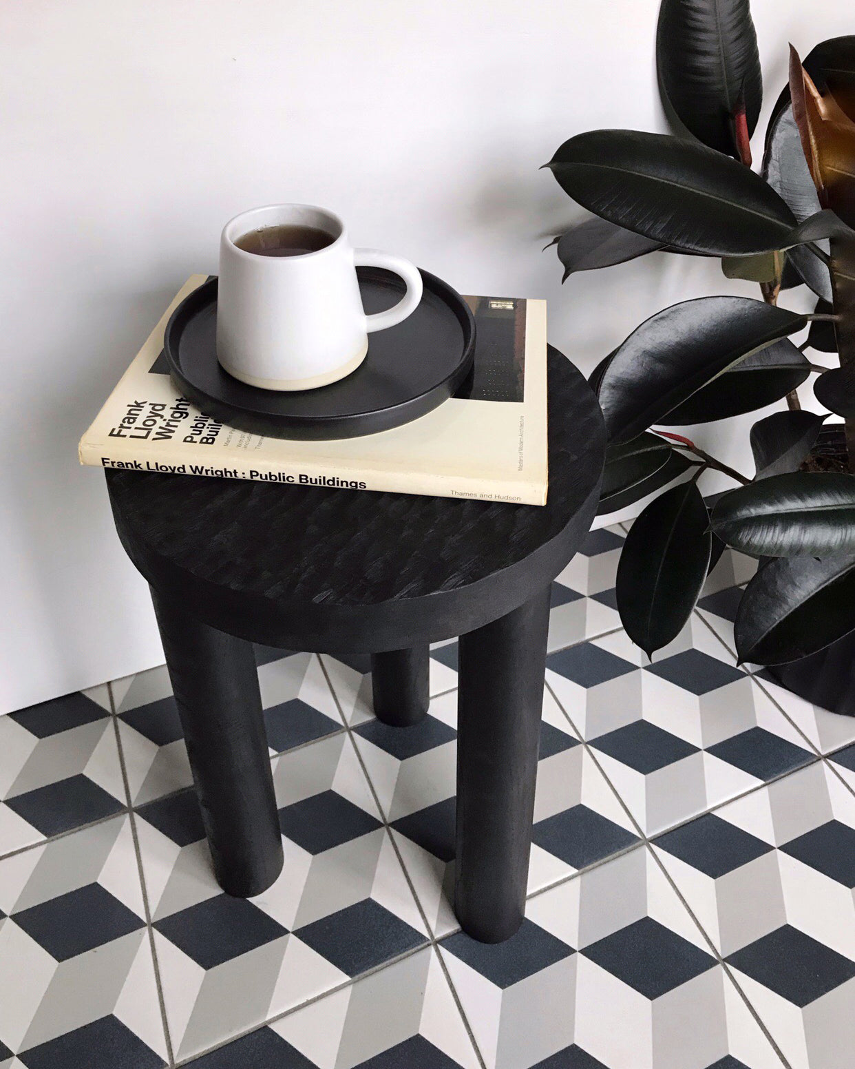 Carved wood stool black