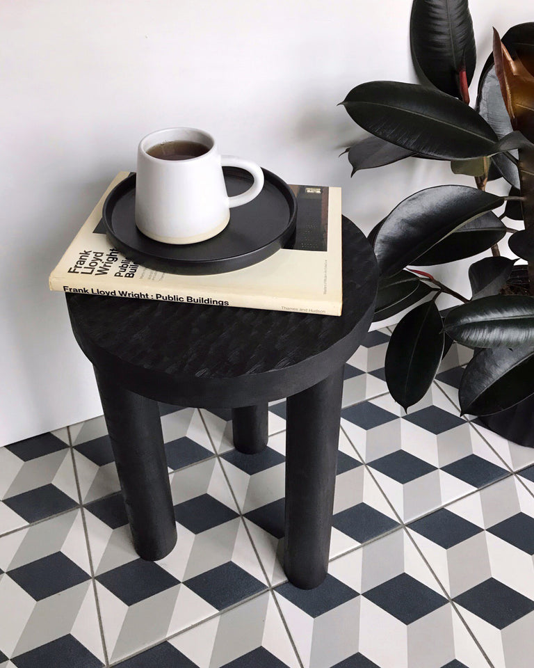 Casa Cubista Carved Wood Stool - Black