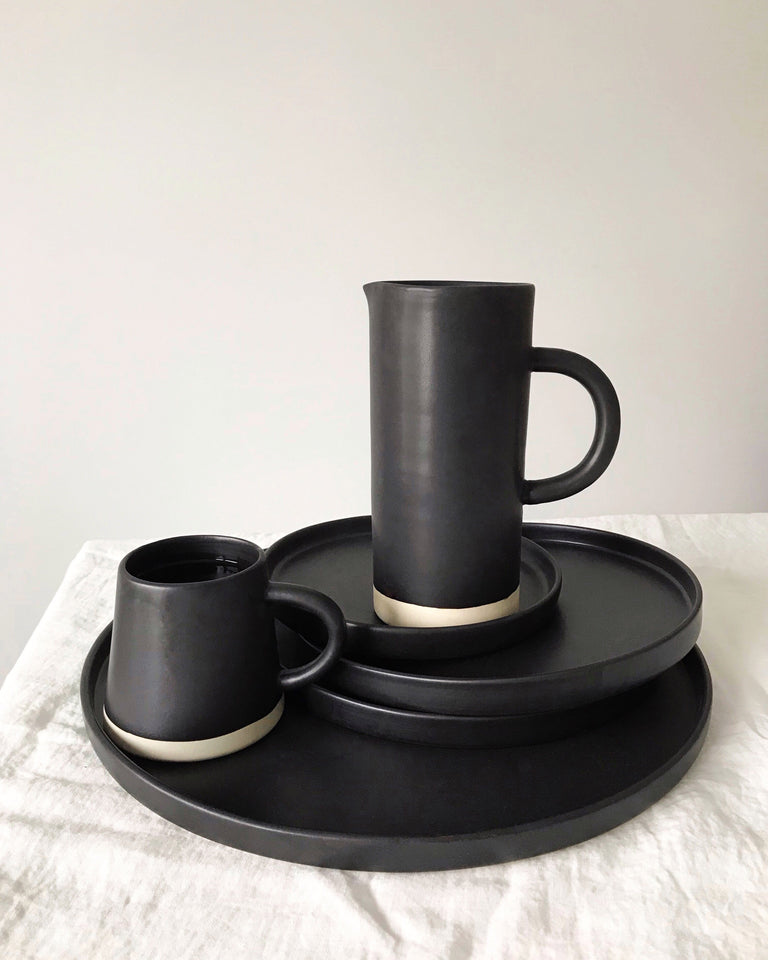 Handmade ceramic pitcher matte glaze black
