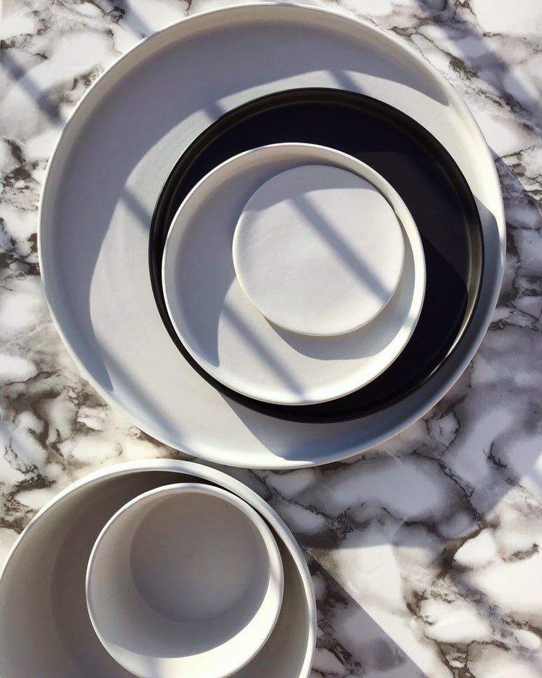 Handmade ceramic plates matte glaze black and white