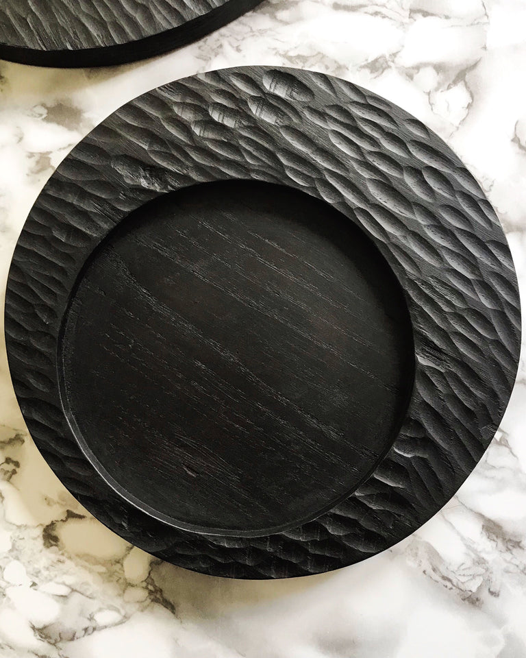 Carved wood circular tray black