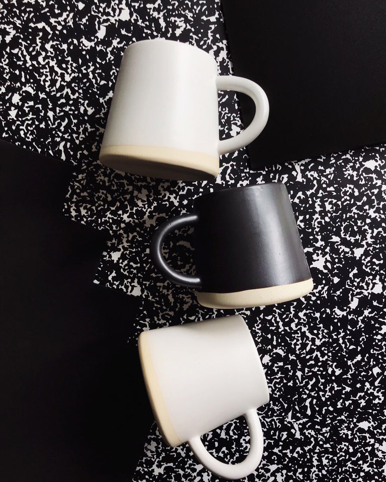 Handmade ceramic mugs matte glaze black and white