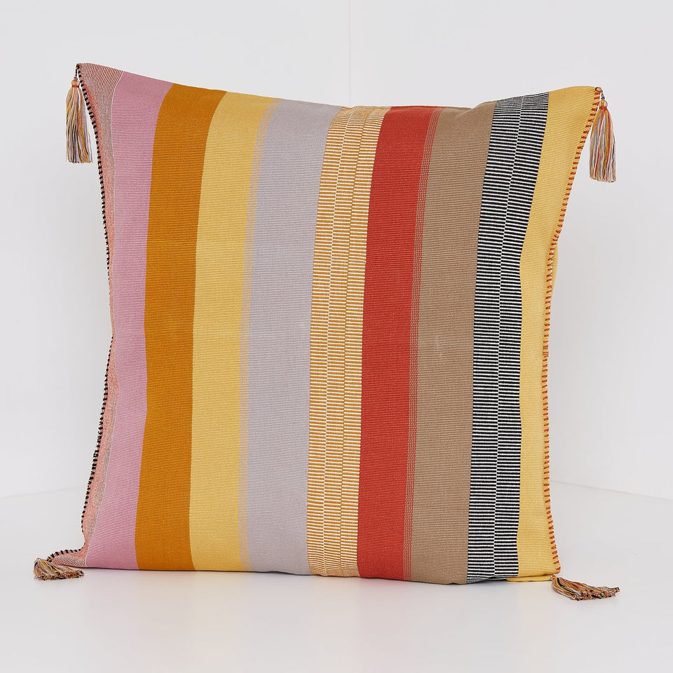 Handwoven cotton pillow with tassels pink yellow orange grey