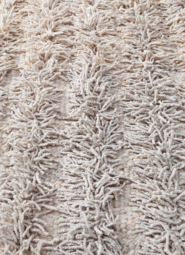 Handwoven wool shag rug white natural
