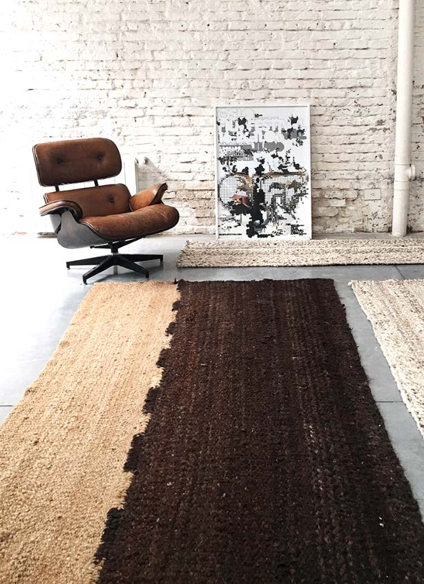 Handwoven wool rug light and dark brown