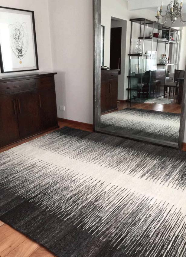 Handwoven wool rug black and white