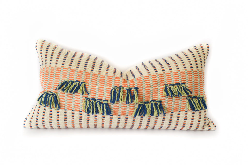 Handwoven organic cotton pillow orange blue