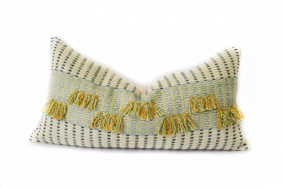 Handwoven organic cotton pillow green yellow