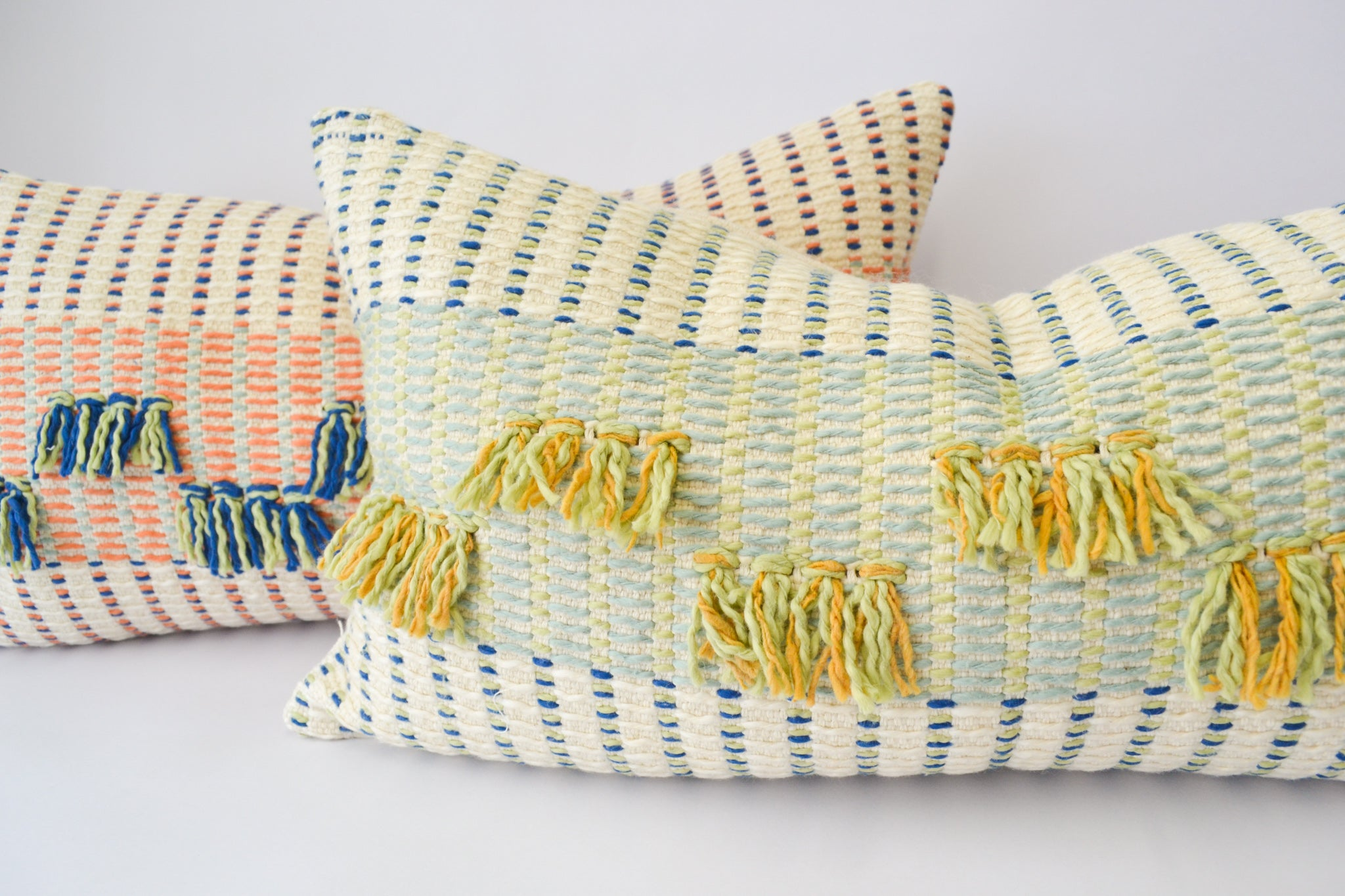 Handwoven organic cotton pillows