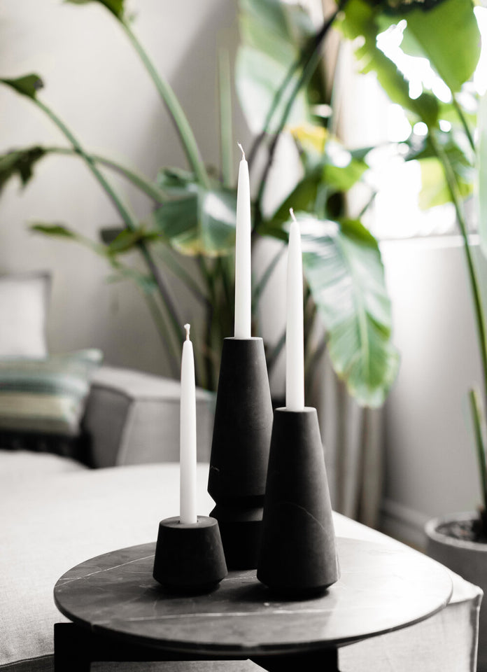 Candleholder Set of 3 in Black Marble