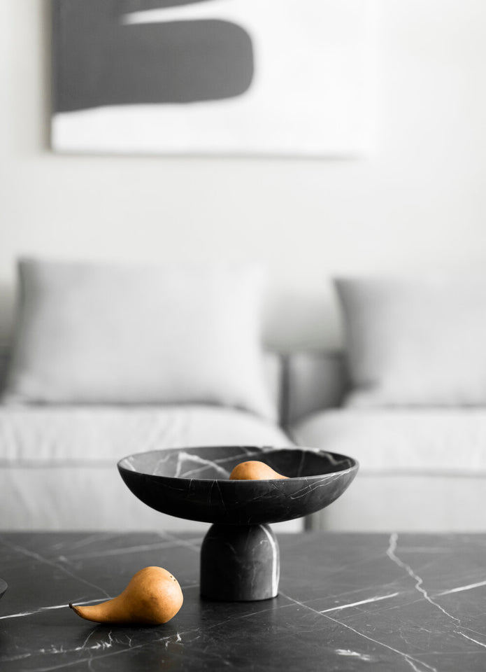 Pedestal Bowl in Black Marble