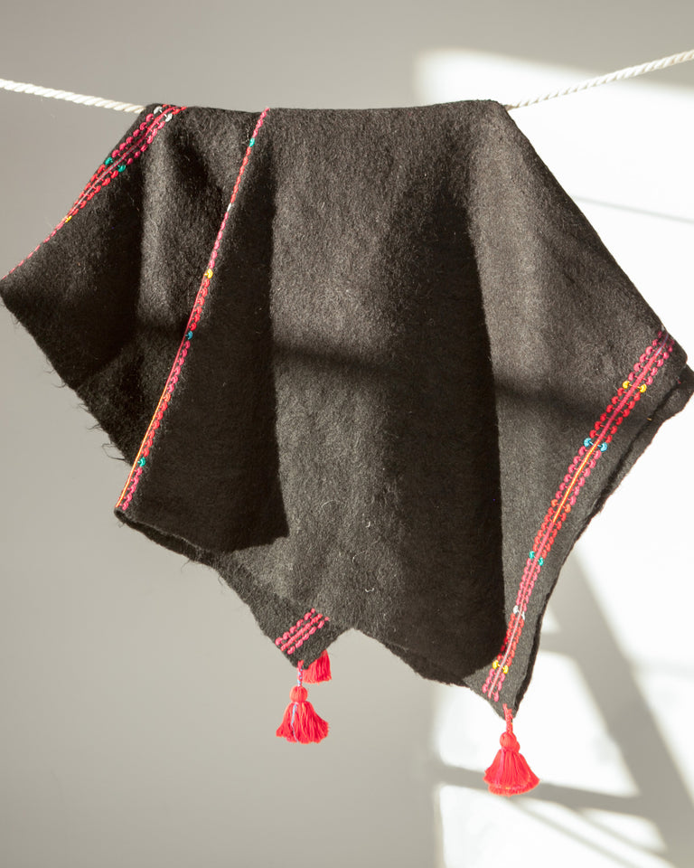 Chamula Wool Throw - Black