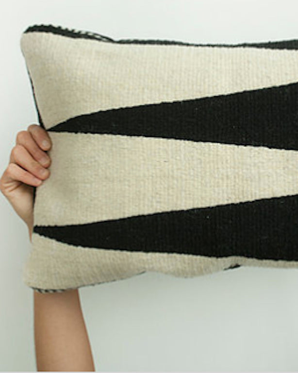 Handwoven wool pillow black and white geometric design