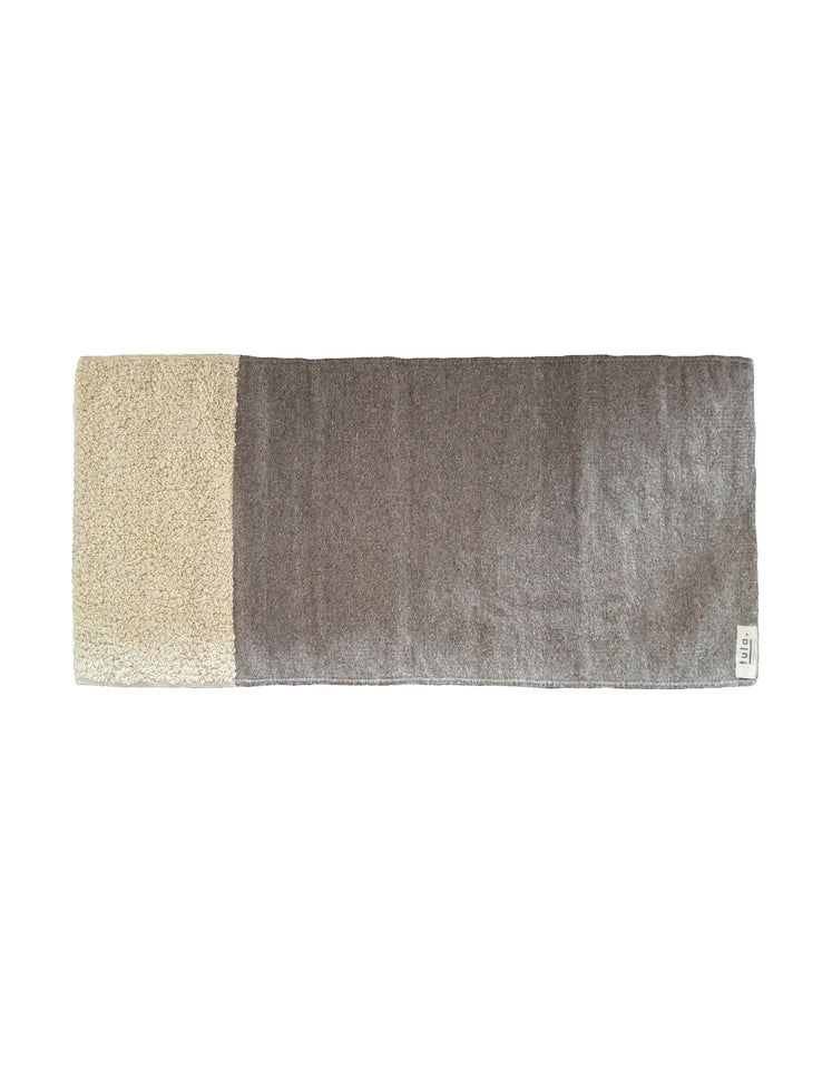 Handmade wool runner rug grey and natural