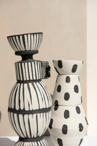Handmade ceramic candleholder set Black and White B&W