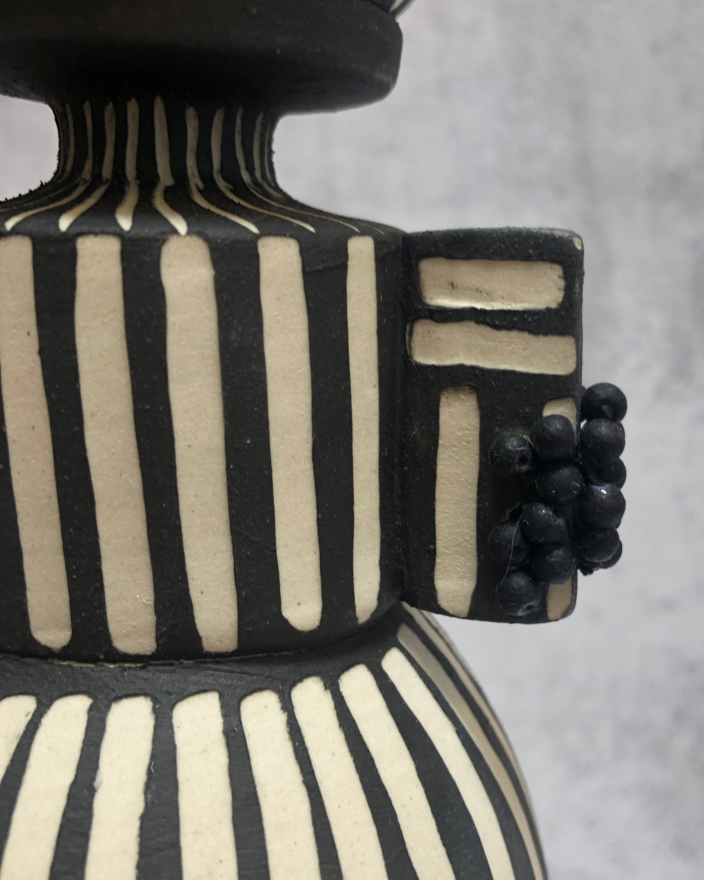 Handmade ceramic candleholder Black and White B&W