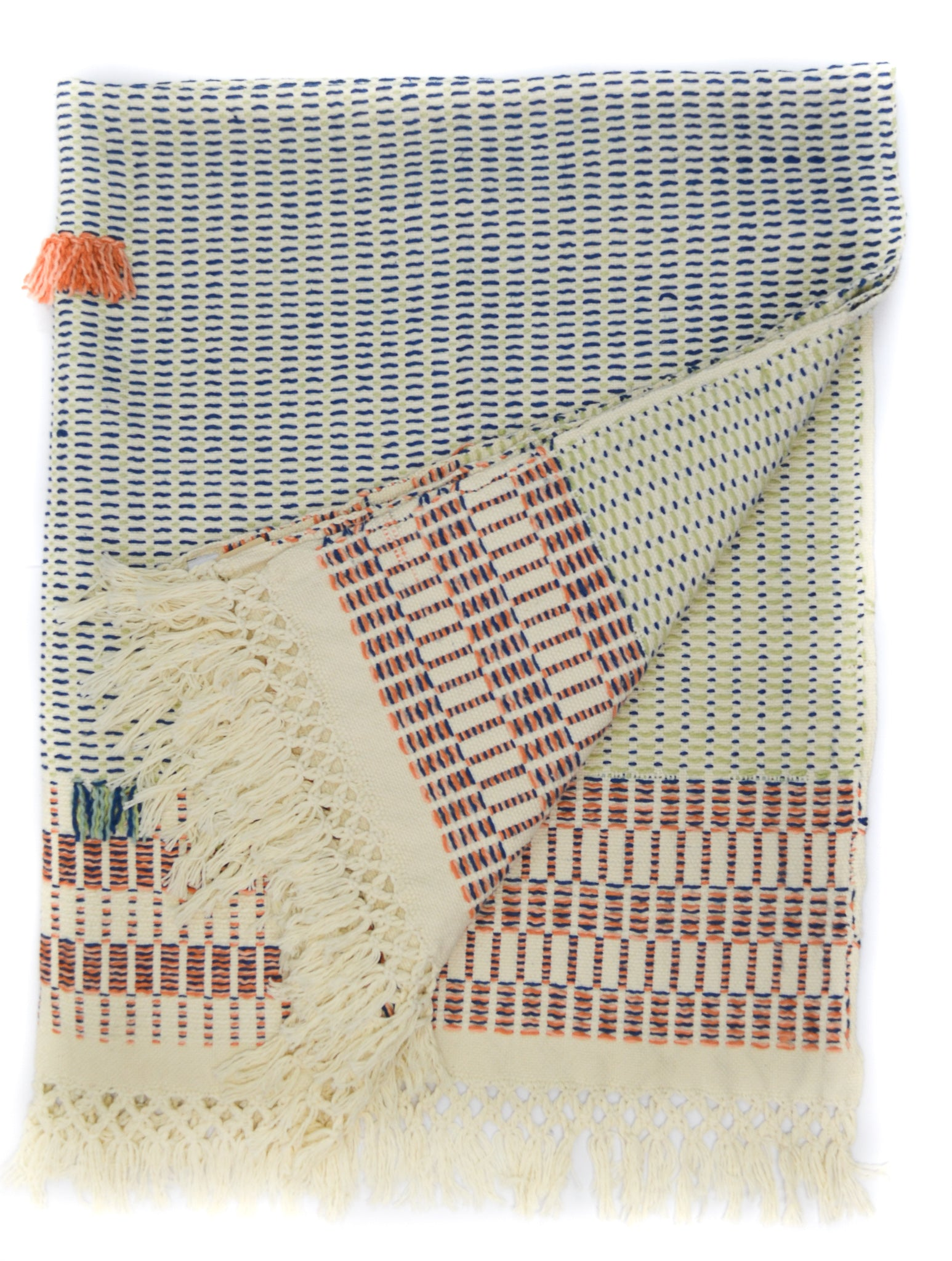 Handwoven organic cotton throw orange blue